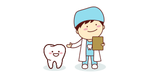 cartoon dentist with tooth