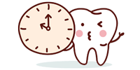 cartoon tooth with clock