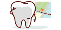 cartoon tooth with map