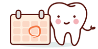 cartoon tooth with calendar